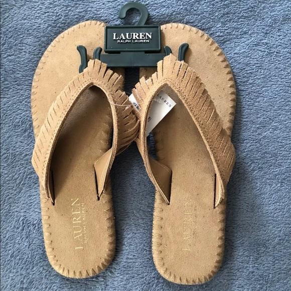 619c5ad94 Ralph Lauren Chandra Suede Flip Flops Safari Tan